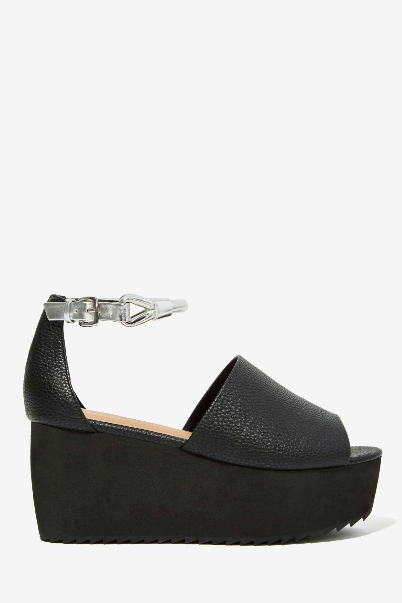 ce62d401096 Nasty Gal Space Truckin  Vegan Leather Flatform Shoes