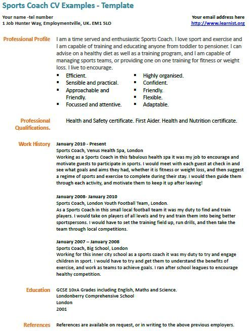 sports coach cv exle professional cv