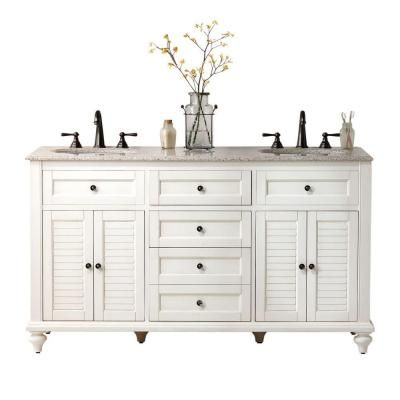 Home Decorators Collection Hamilton 61 in. W x 22 in. D Double Vanity in  Ivory with Granite Vanity Top in Grey with White Basin - Home Decorators Collection Hamilton 61 In. W X 22 In. D Double