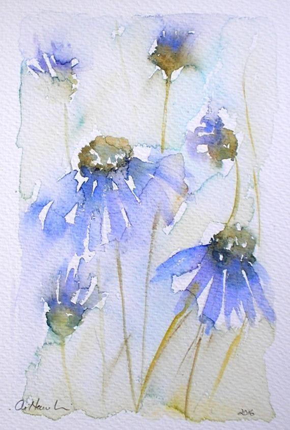 Aquarellmalerei COTTAGE GARDEN Originalkunst der Künstlerin Amanda Hawkins 14 x 22 cm ungerahmt unmontiert Blaue Blumen florale botanische Kunst  AquarellMalerei BAU...