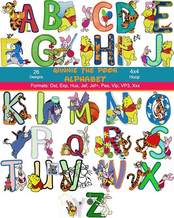 Disney Style Machine Embroidery Alphabet Font Designs