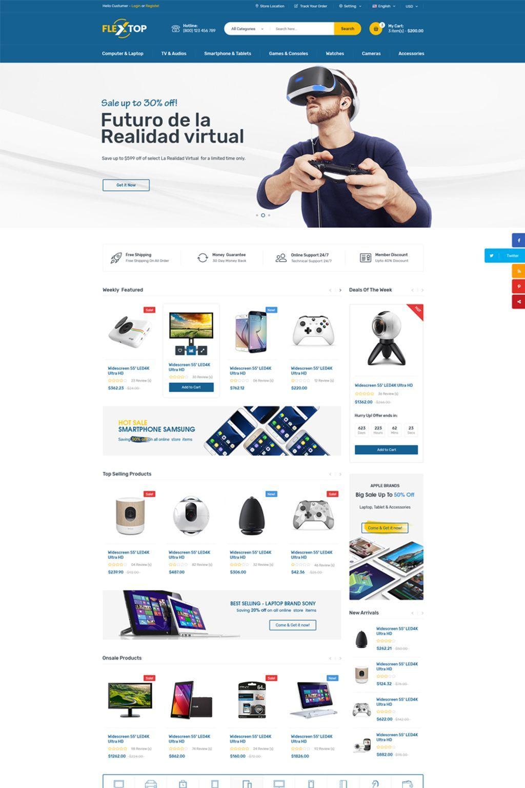 Flextop Ecommerce Website Template Website Ecommerce Flextop Template Ecommerce Website Template Woocommerce Themes Website Design Software