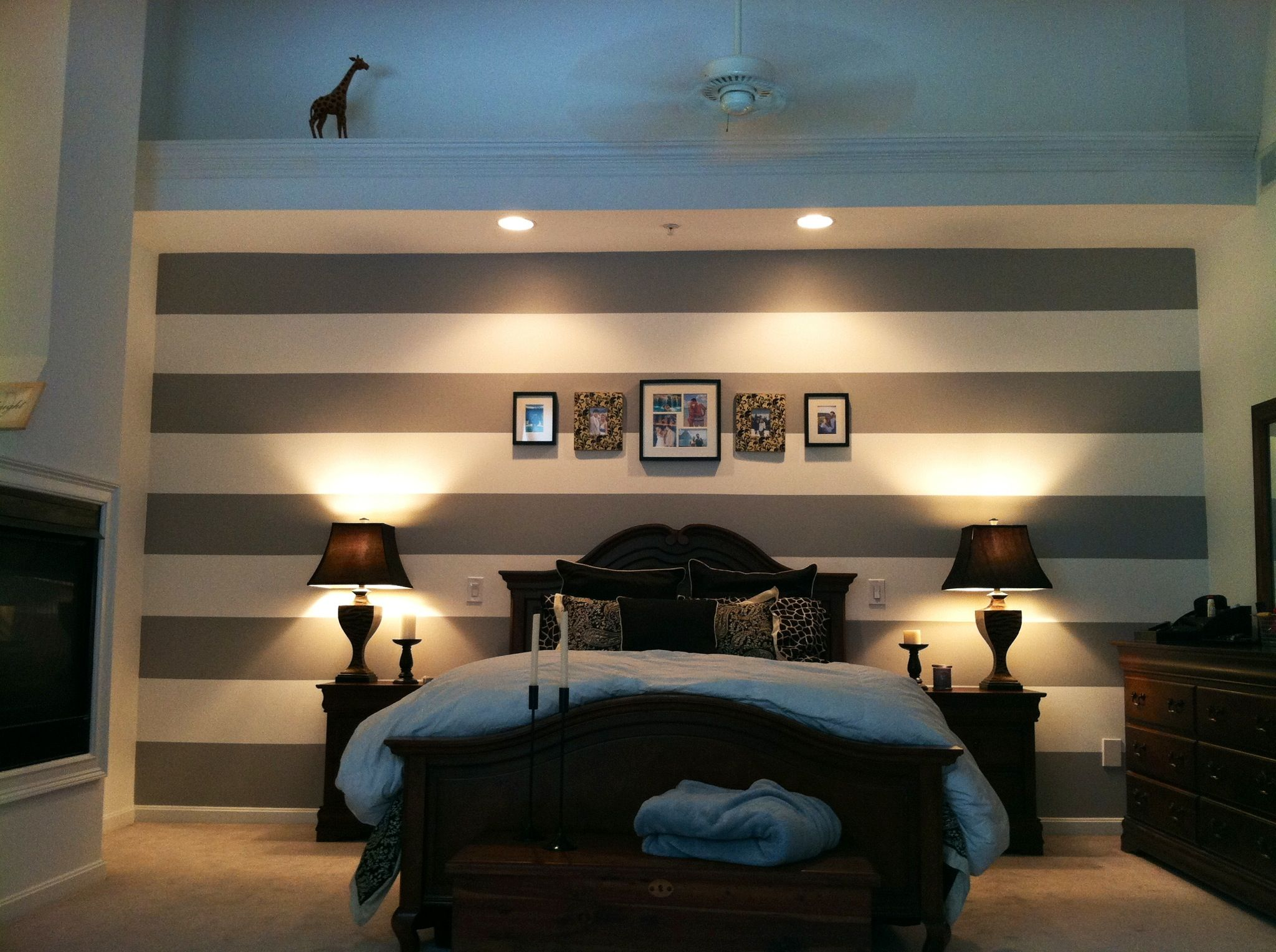 Behr pewter mug paint. Gray and white stripe accent wall