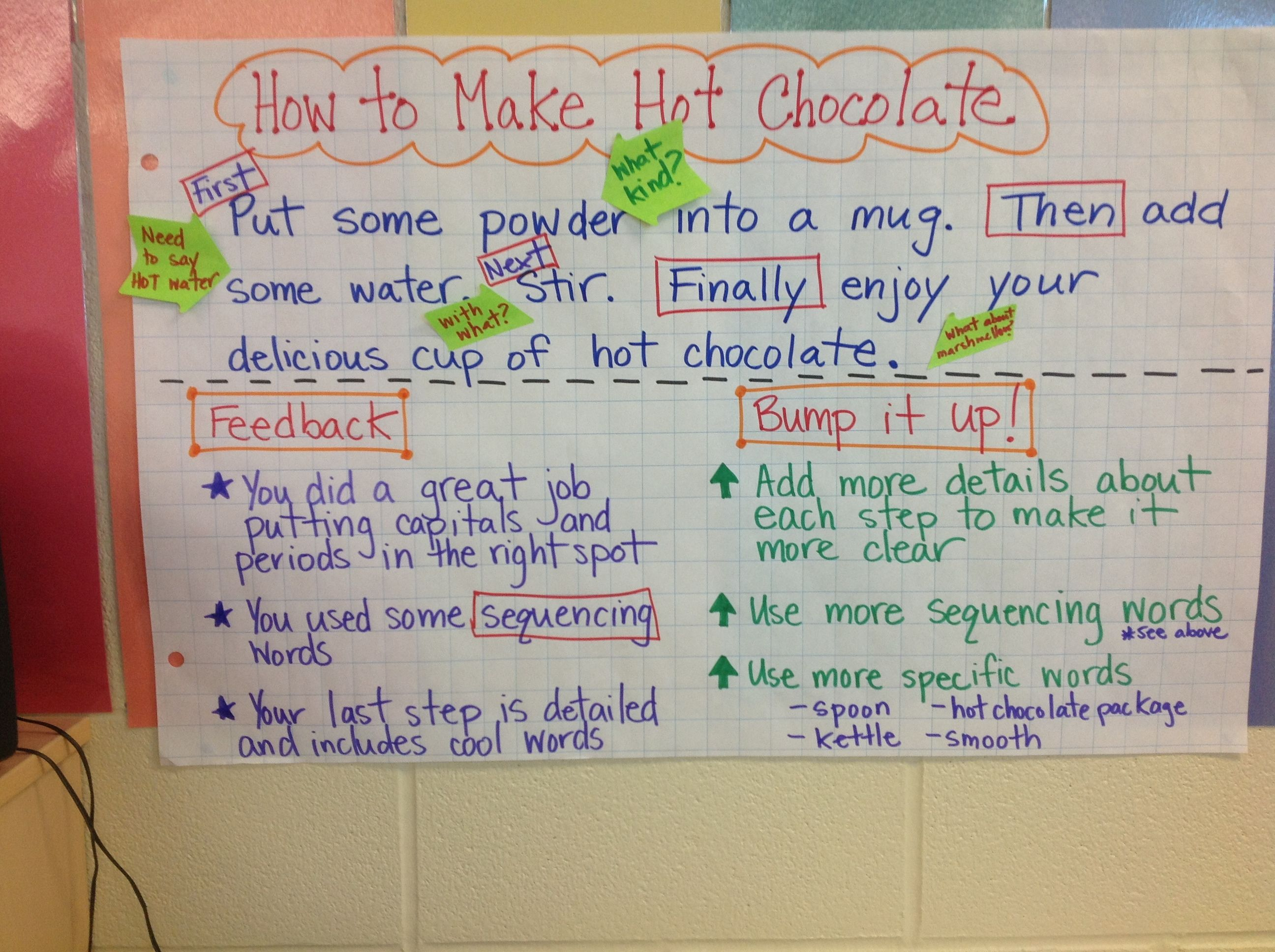 Procedural Writing Bump It Up Anchor Chart Created Using