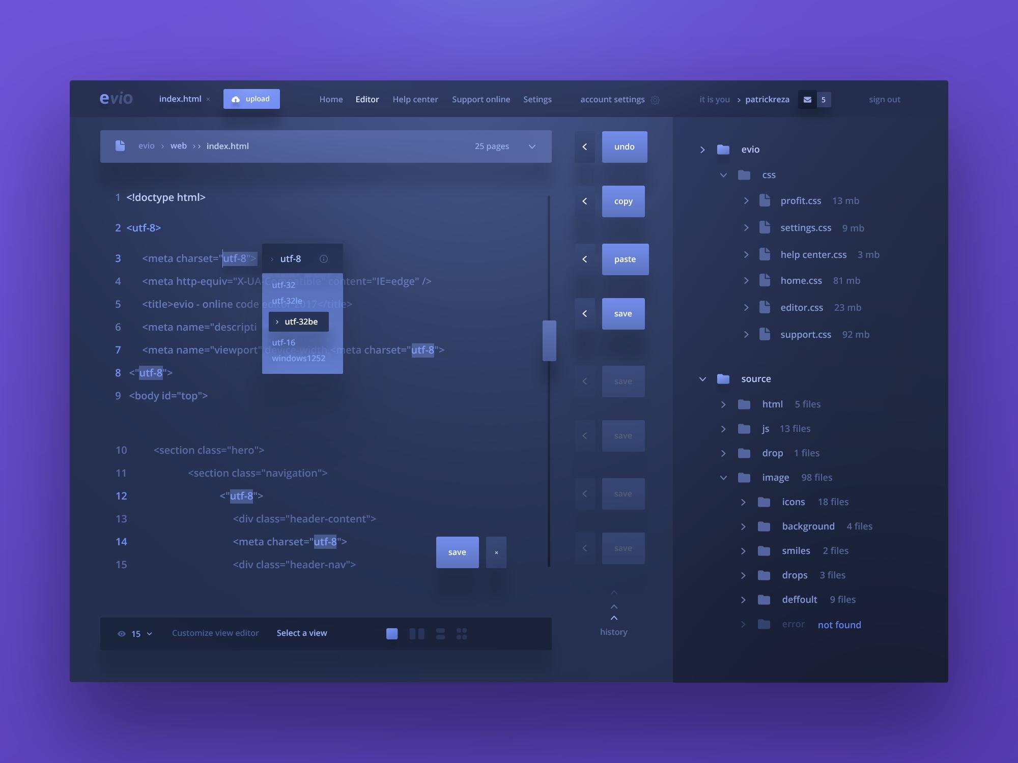 Evio Online Code Editor Minimal Web Design Web App Design Interface Design