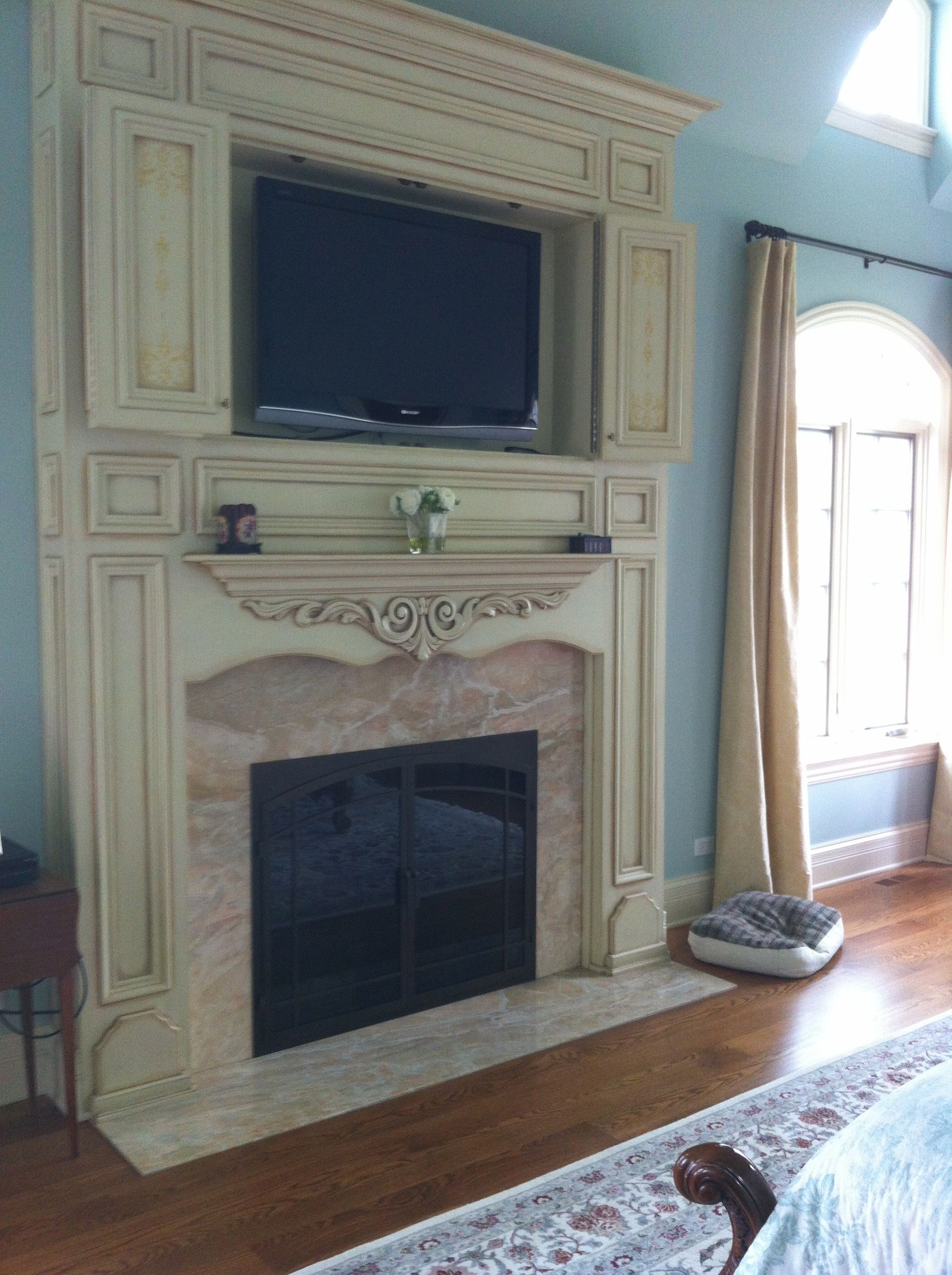 custom distressed white fireplace surround marble inlay around