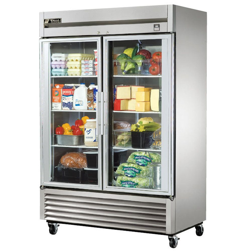 High Quality True Stainless Steel Two Section Glass Door Reach In Refrigerator With LED  Lighting   49 Cu.