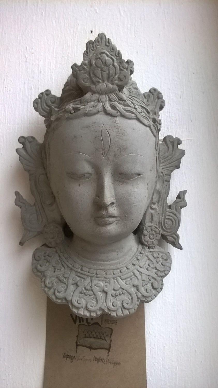 Stone Effect Buddha Head,Wall Art, Indoor Outdoor Statue, Garden Ornament,  Decorative