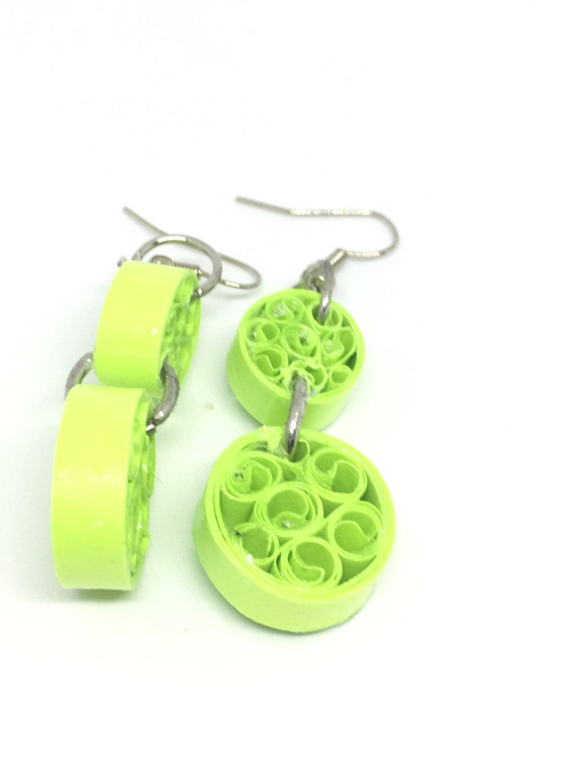 Dangle earrings paper quilled earrings first anniversary gift