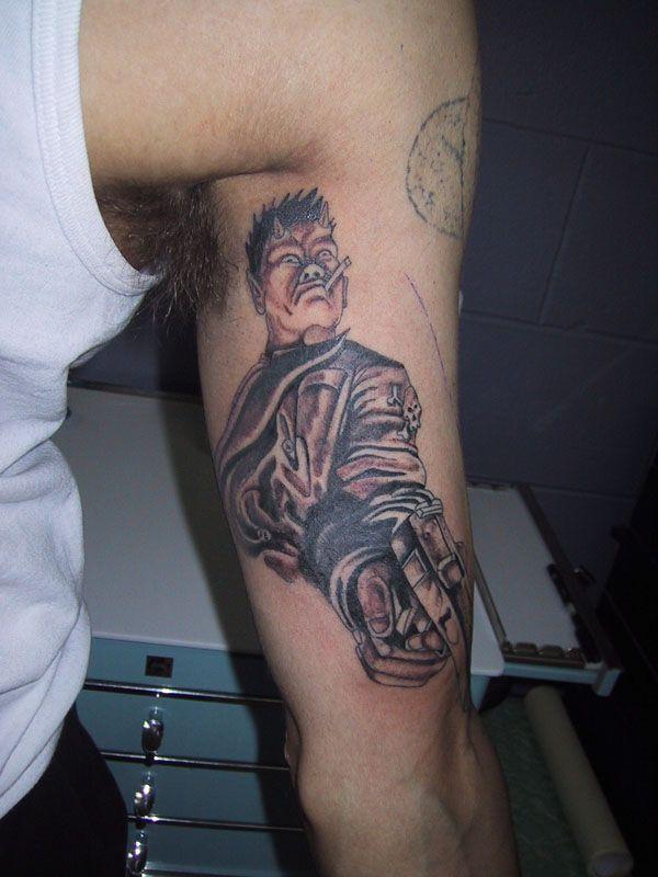 db3f10933bd96 Devil With Gun Inner Biceps Tattoo | Tattoobite.com | Bicep Tattoos ...