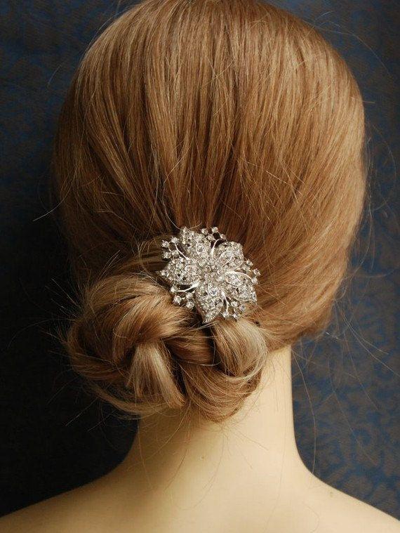 Julienne Dramatic Art Deco Rhinestone Flower Bridal Hair Clip