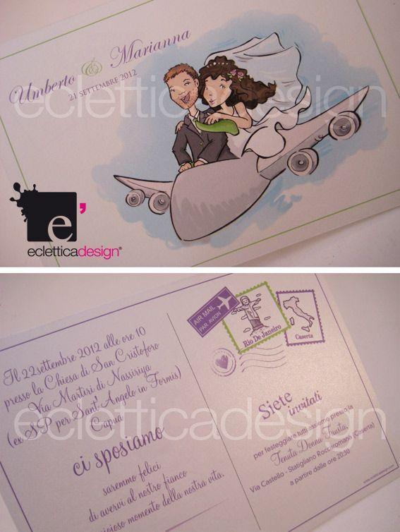 Matrimonio In Alta Quota : Partecipazioni di matrimonio postcard amore ad alta quota
