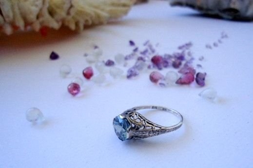 French Art Nouveau 1.5 Carat Aquamarine  by StoneTempleDesigns, $150.00