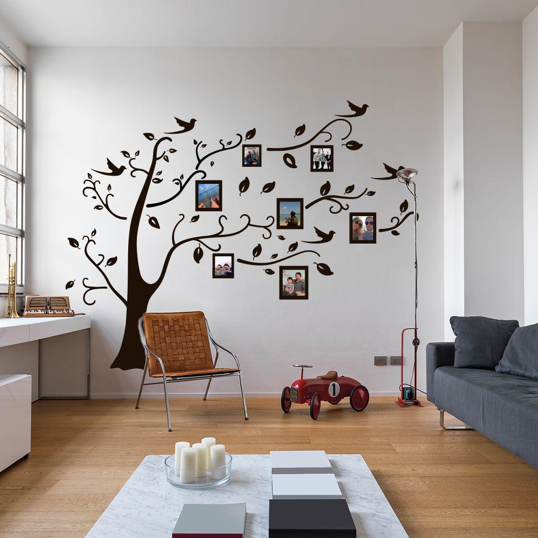 Muursticker boom met fotolijstjes   Pinterest