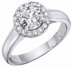 Bead Set Diamond Engagement Ring Details: It is a Beautiful Bead Set Diamond Engagement Ring. It has diamonds around a big center diamond. You can set any center diamond of your desire in it and also customize it with yellow gold, while golf and platinum.