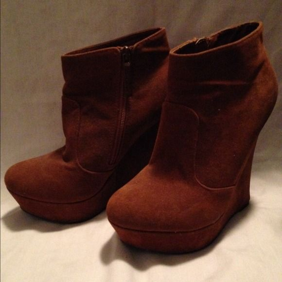 "Shiekh tan wedged booties Great for fall. 5"" heel Shiekh Shoes"