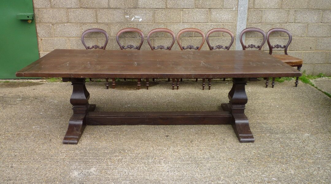 Superior Large 17th Century Manner Jacobean Oak Refectory Farmhouse Table