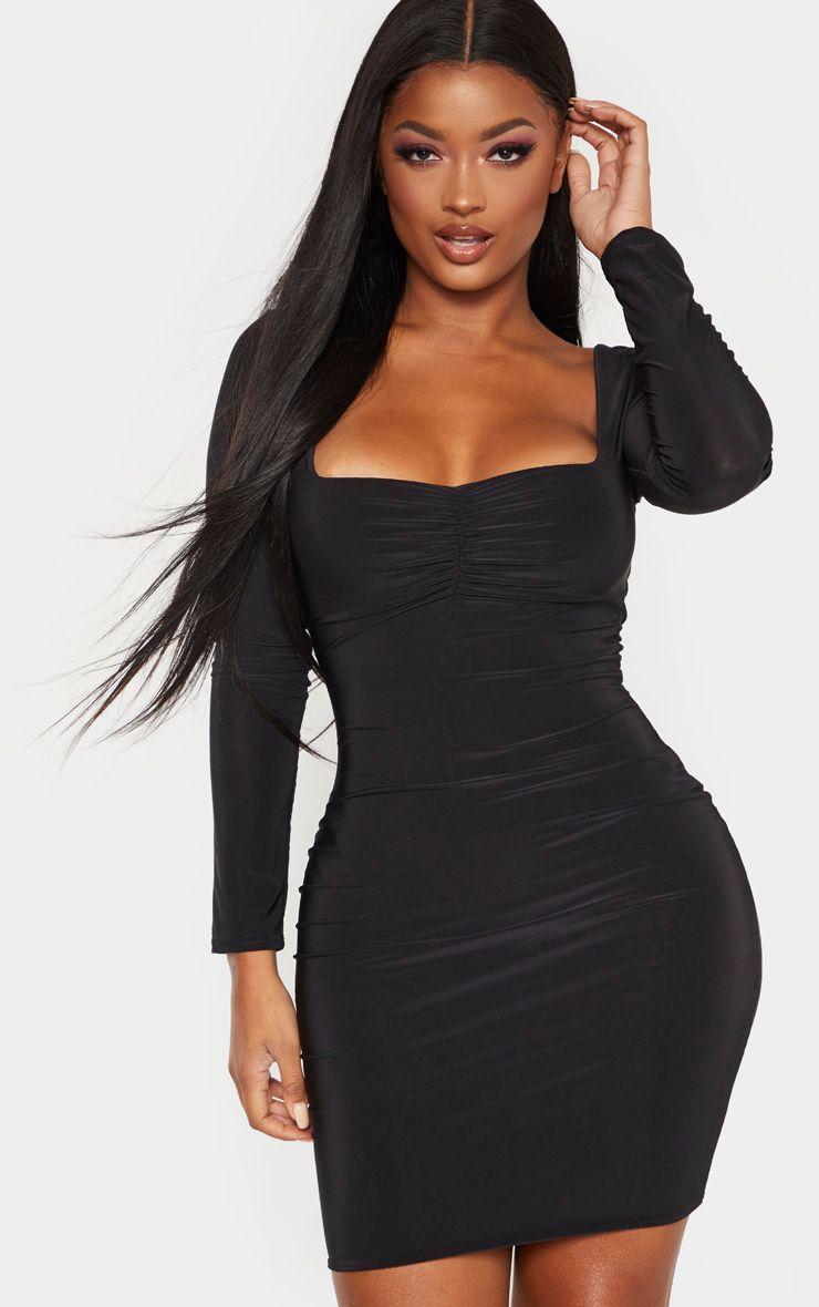 Shape Black Long Sleeve Slinky Ruched Bust Bodycon Dress Bodycon Dress Fashion Long Sleeve Chiffon Dress [ 1180 x 740 Pixel ]
