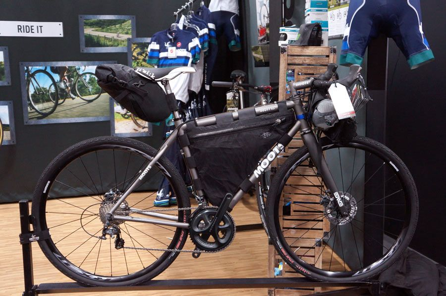 Moots Routt 45 titanium adventure gravel road bike for light