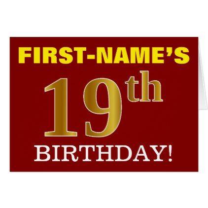Red Imitation Gold 19th Birthday Birthday Card 19 Birthday