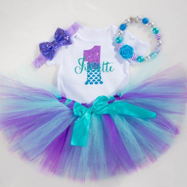 70e7e2046 This gorgeous Under the sea Little Mermaid first birthday outfit combines  purples and blues to bring together a beautiful birthday outfit !