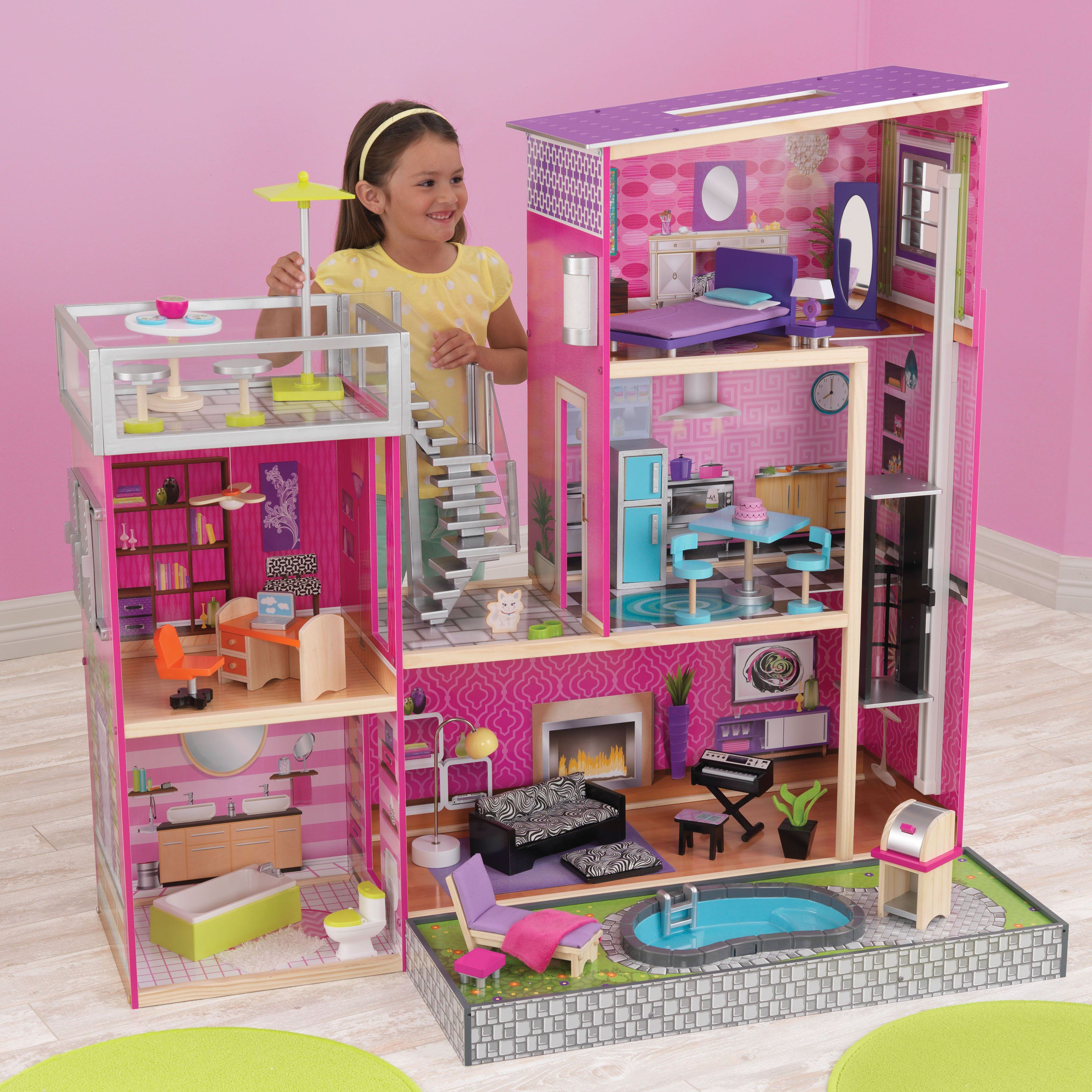 Kidkraft 65833 Uptown Wooden Dolls House With Furniture And Accessories 3 Play