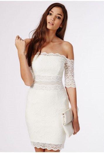 9a178c3e148 Missguided - Kate Lace Bardot Midi Dress White