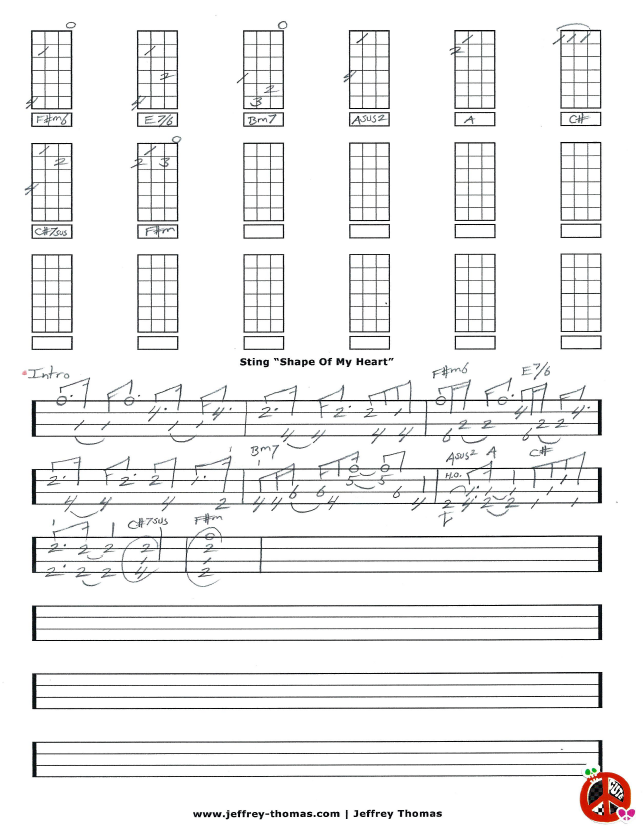 On The Workbench Shape Of My Heart By Sting This Is For A Low G Ukulele And Was Pretty Challenging To Get It To Sound Right Intro Only So Far I Tr