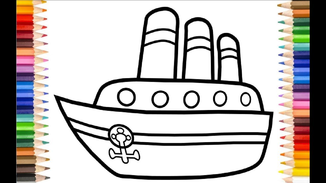 How to Draw Ship for kids Coloring Pages
