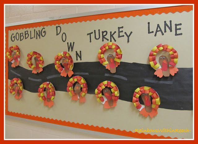 December Bulletin Board Ideas | photo of: Turkeys on the Bulletin Board via Rain... - Holiday #novemberbulletinboards