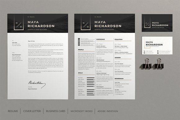 Resume, Cover Letter, Business Card The template like all designs on ...