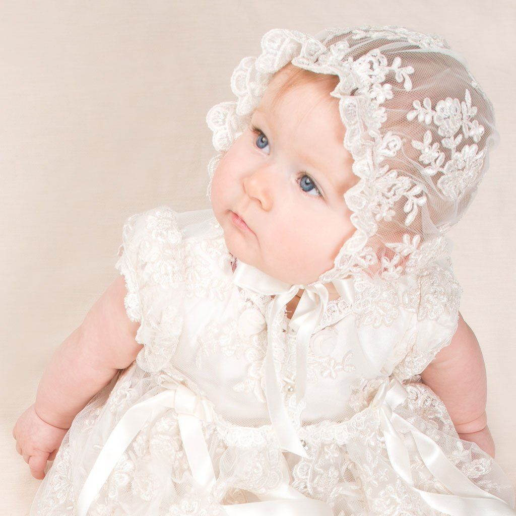Aorme Ivory Lace Baby-Girls Christening Baptism Gowns with Hat Trim Edge