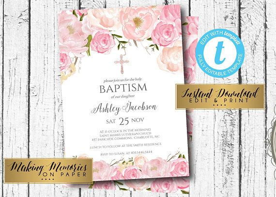 Pink Baptism Invitation First Communion Invite INSTANT Download