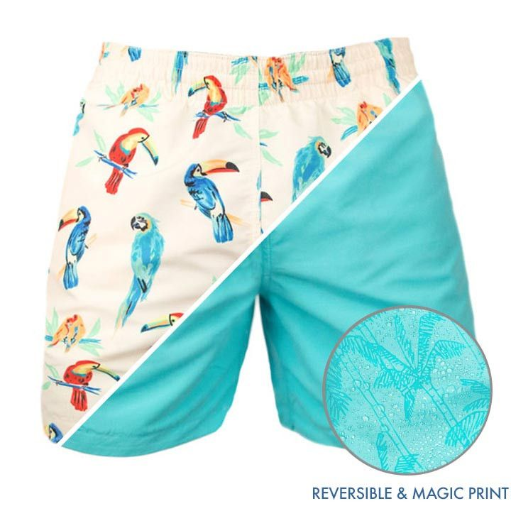 6fe164e075 With these here trunks you're getting 3 shorts for the price of 1. Parrots  and some magic-print blue = your new favorite shorts.