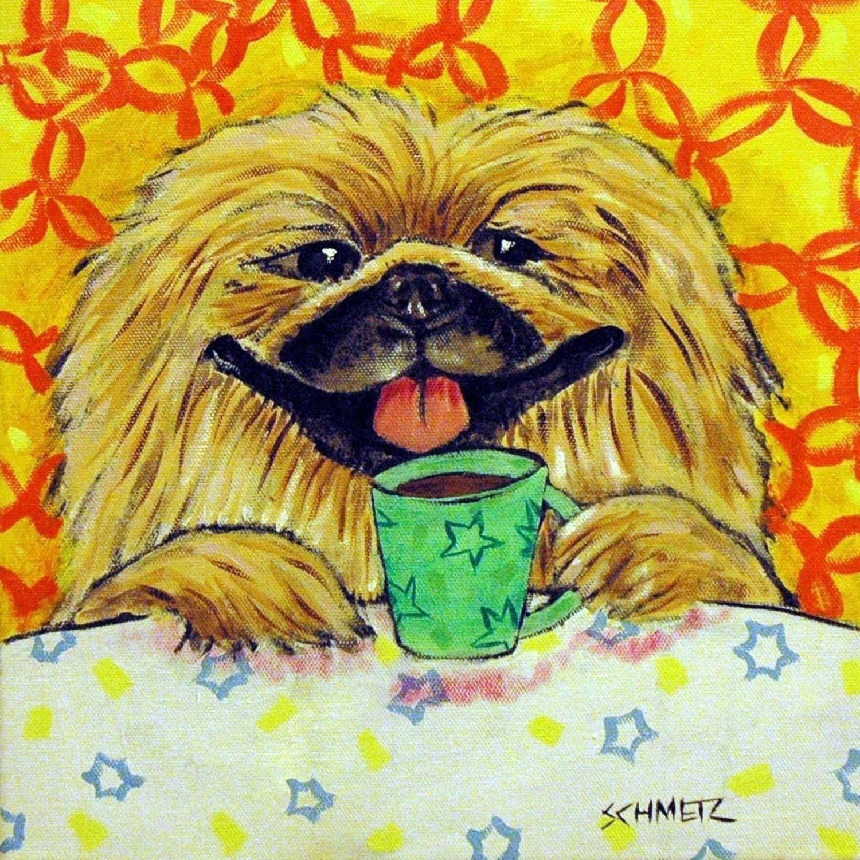 japanese chin dog wine art tile COASTER impressionism animals artist gift new
