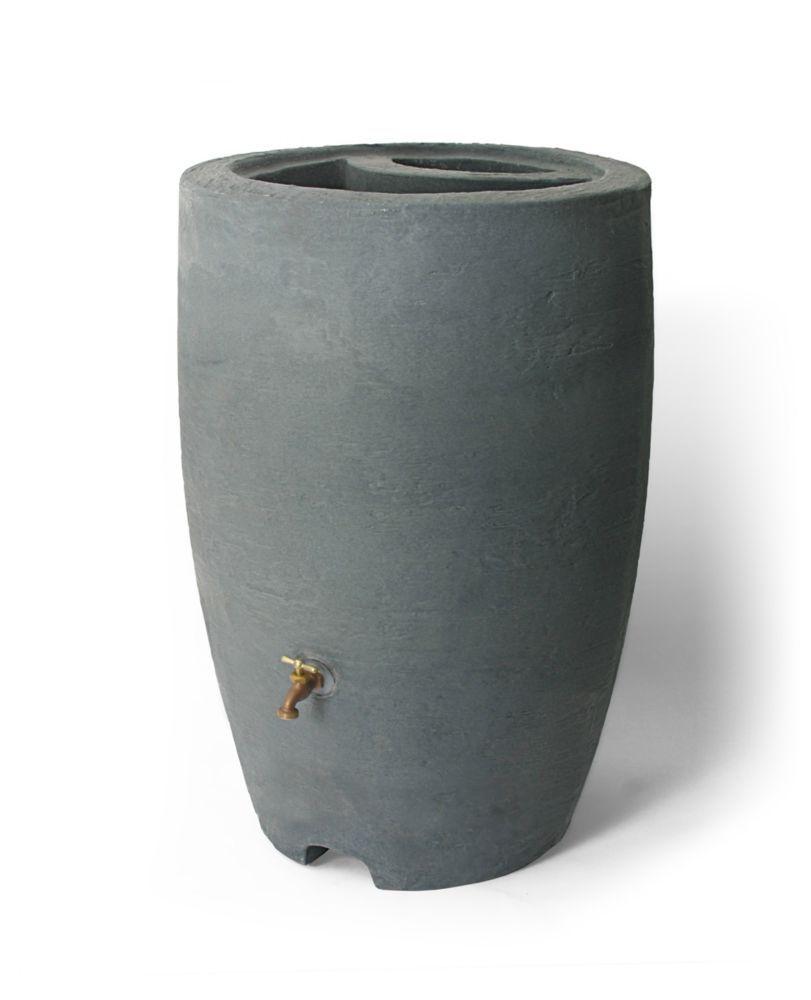Athena 50 Gal Rain Barrel With Brass Spigot In Charcoalstone Rain Barrel Rain Barrel System Decorative Rain Barrels