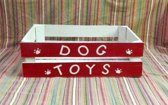 Dog Toy Box Wooden Crate Toy Box Dog Toy Storage Dog Toy Box