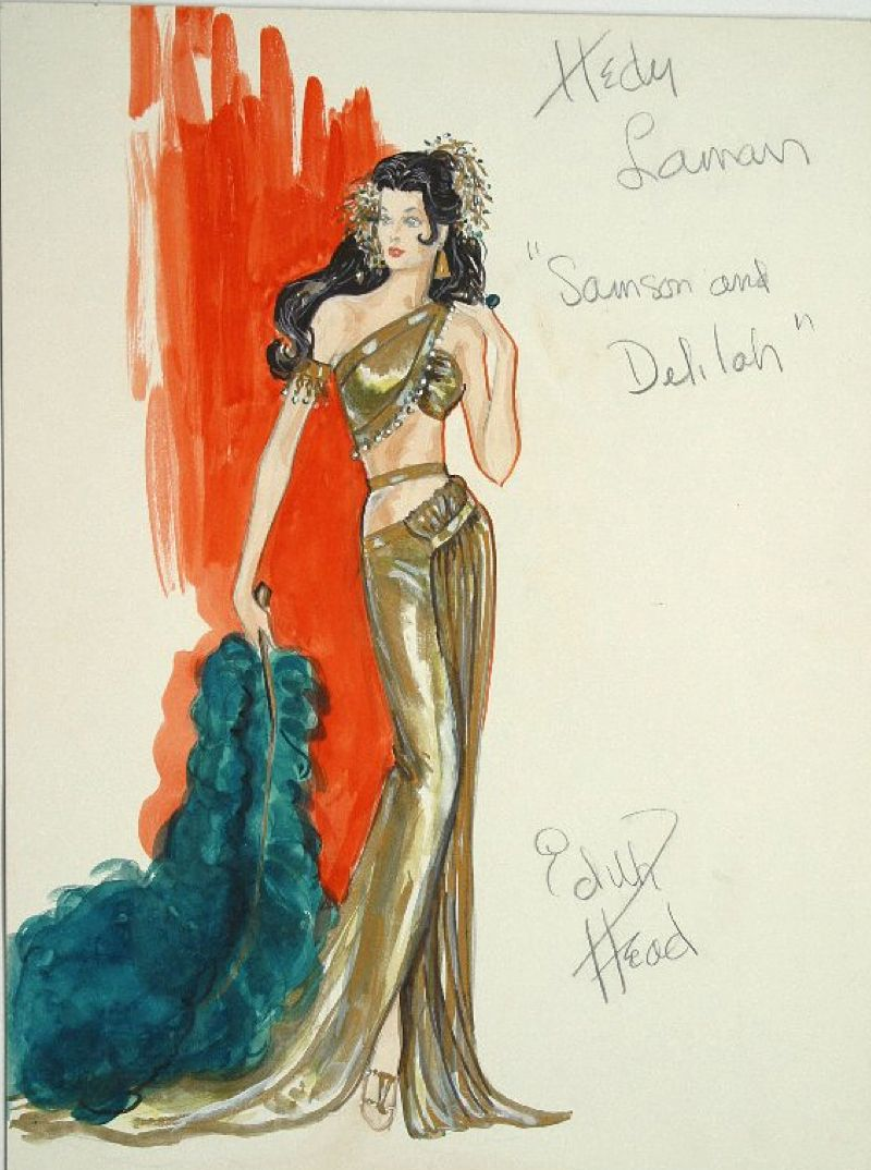 edith head sketch for hedy lamarr in samson and delilah