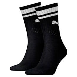 PUMA Heritage Striped Crew Socks 2 Pack in Black size 9-11