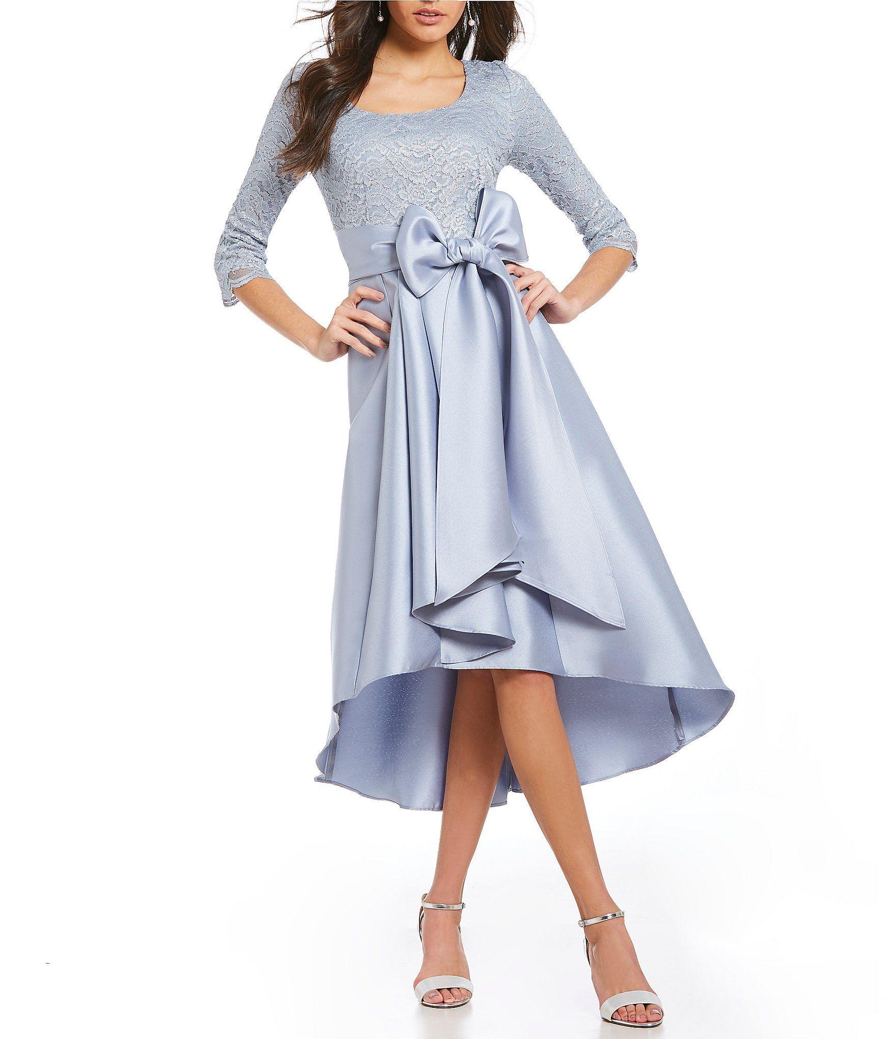 R&M Richards Foil Lace Hi-Low Oversized Bow Taffeta Midi Dress ...