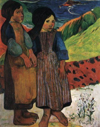 Paul Gauguin, Breton Girls by the Sea, 1889, Oil on canvas, 92 x 73 cm, National Museum of Western Art, Tokyo