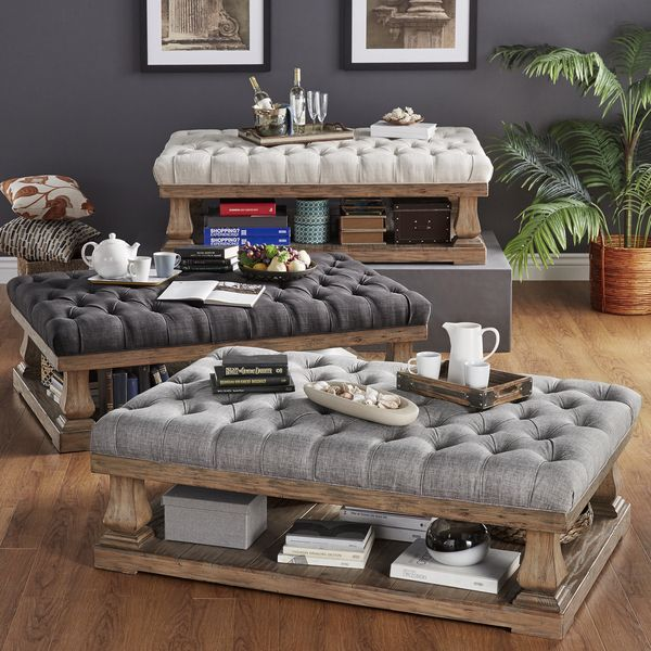 Signal hills knightsbridge tufted linen baluster 60 inch cocktail ottoman Linen ottoman coffee table