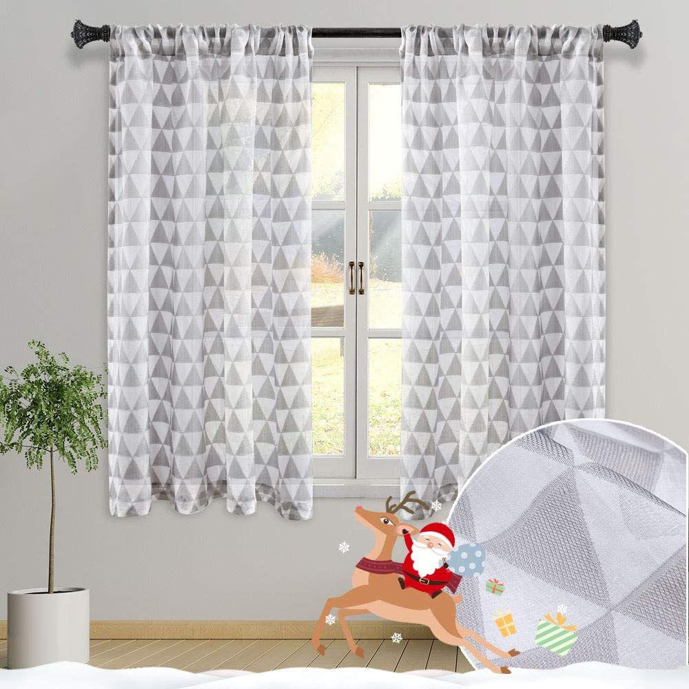 Grali 54 Inch Pattern Sheer Curtains Simple Triangle Semi Voile