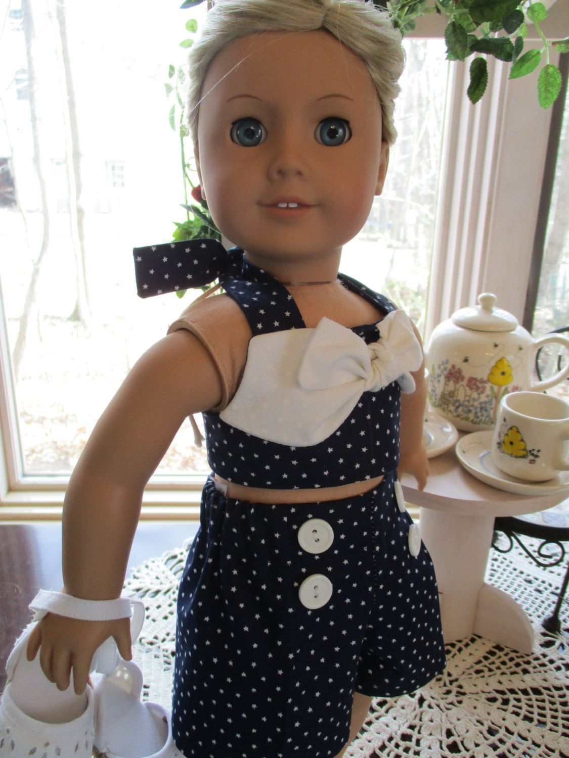Patriotic stars retro us doll swimsuit or shorts set to fit your