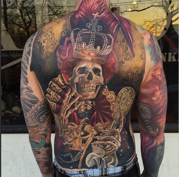 Fantastic realistic skeleton queen by mike carro inspired for Skeleton king tattoo