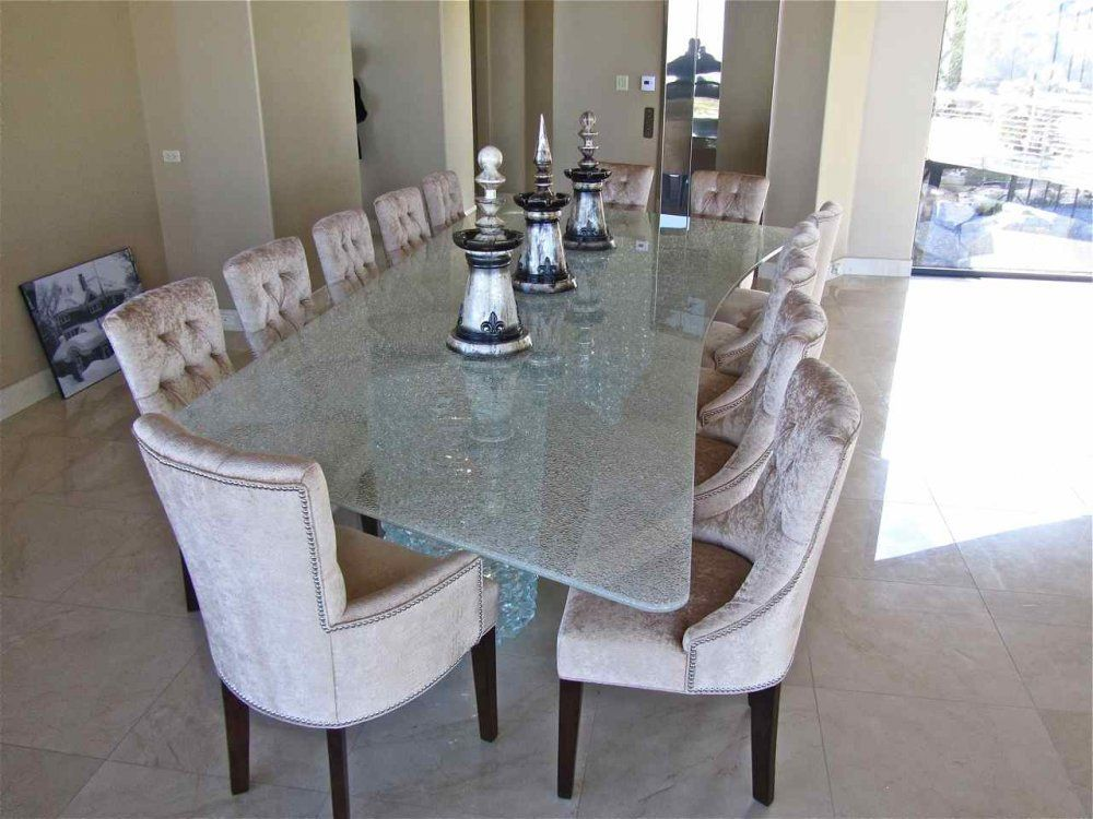 Shattered Glass Dining Table Starphire Clear 85 x 159 Glass