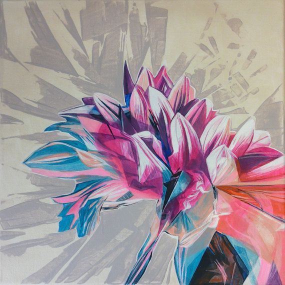 Cabbage Rose Flower Print Purple Abstract Art Kitchen Wall: Acrylic Painting Dahlia Blossom I Original Painting On By