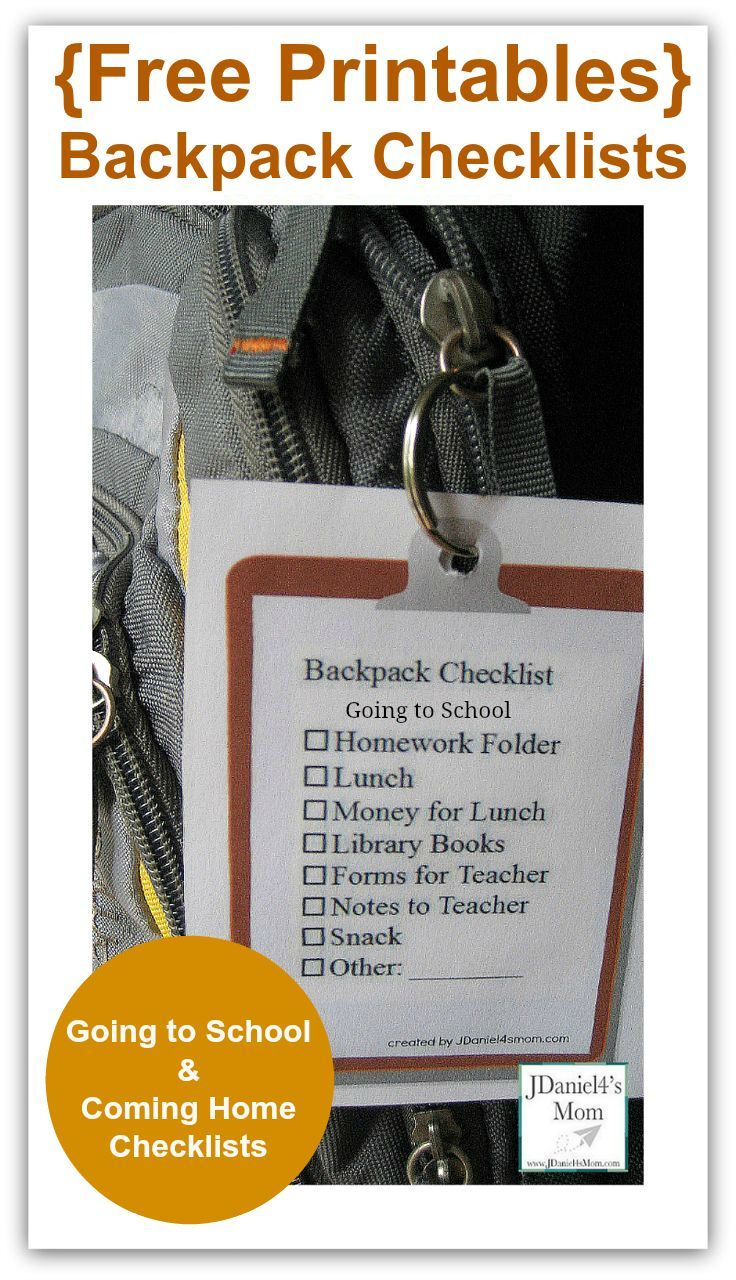 Free Pintables Backpack Checklist- Going to School and Coming Home