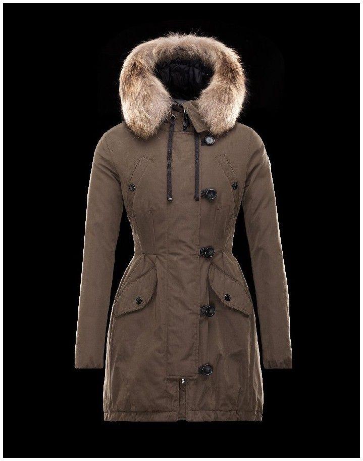 Doudoune Moncler Arrious Parka Femme Vert Militaire Polyester Coton Racoon 010c5a74a93