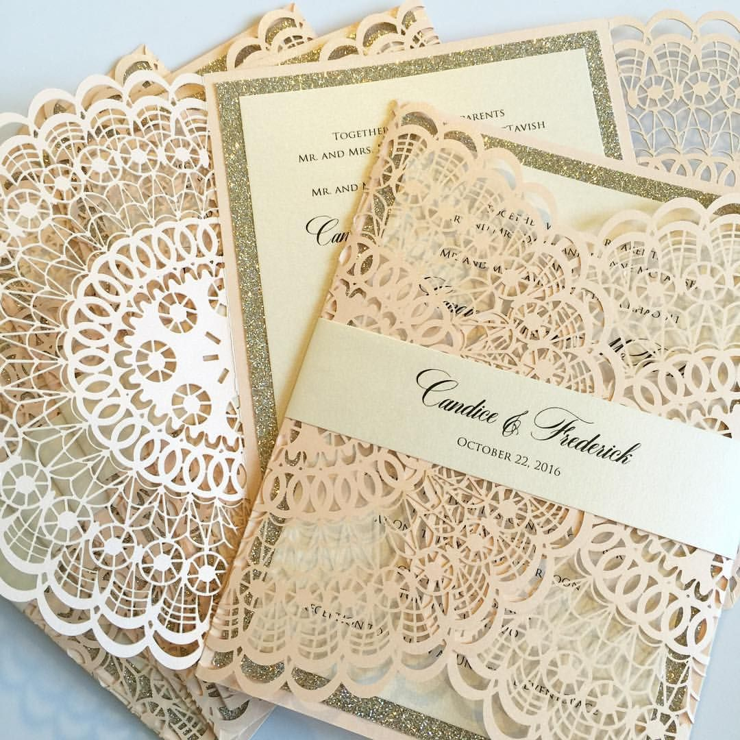 Doily laser cut wedding invitations, laser wedding invitations ...